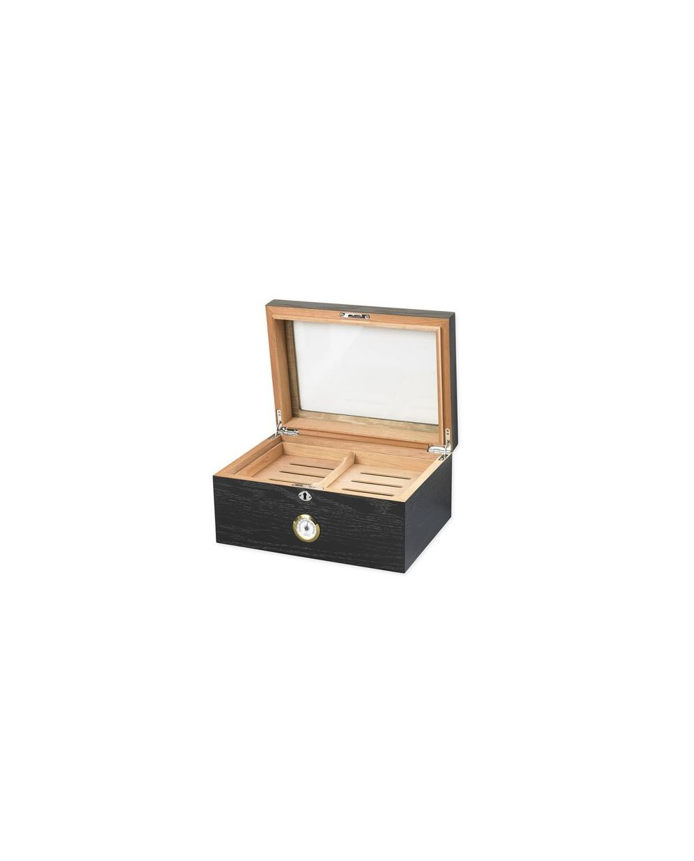 Milano 75 100 Cigar Glass Top Humidor Black Oak