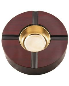 4 Cigar 8 Inch Round Wooden Ashtray With Brass Bowl