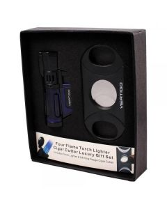 Vertigo Cyclone Quad Torch Lighter and Cutter Gift Set Blue
