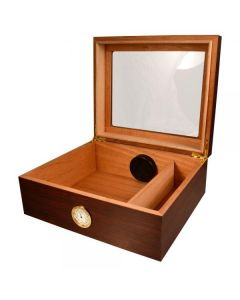 Capri 25-50 Cigar Glass Top Humidor W/front Mount Hygrometer Cherry
