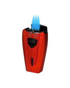 Lotus Fusion Triple Torch Lighter with Punch Red and Black