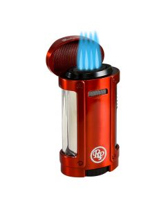 Rocky Patel Lighter Odyssey Quad Torch with Cigar Rest Red