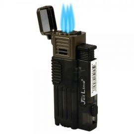 Jetline Gotham Lite Triple Torch Lighter with Punch Black each
