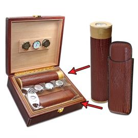 Executive All In One Cigar Humidor Set Brown single