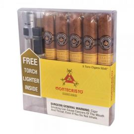Montecristo Classic Toro With Torch Lighter NATURAL box of 5