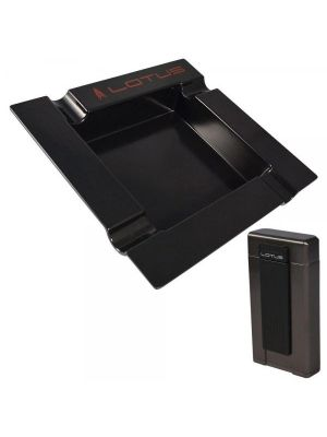 Lotus Ambassador Lighter and Ashtray Gift Set Gunmetal and Black