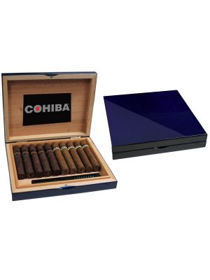 Cohiba Travel Humidor Lacquer Blue With 10 Cigars
