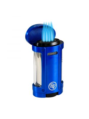 Rocky Patel Lighter Odyssey Quad Torch with Cigar Rest Blue