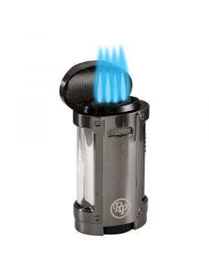 Rocky Patel Lighter Odyssey Quad Torch with Cigar Rest Gunmetal