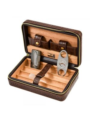Cohiba Leather Travel Case Gift Set Brown