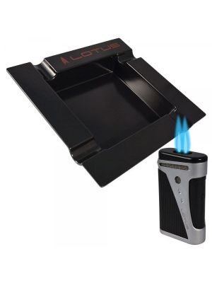 Lotus Sable Lighter and Ashtray Gift Set Black and Chrome