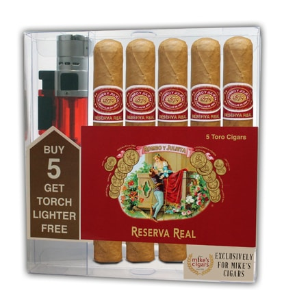 Add a Romeo y Julieta Reserva Real cigar collection ($67.00 value) for only $19.95 with box purchase